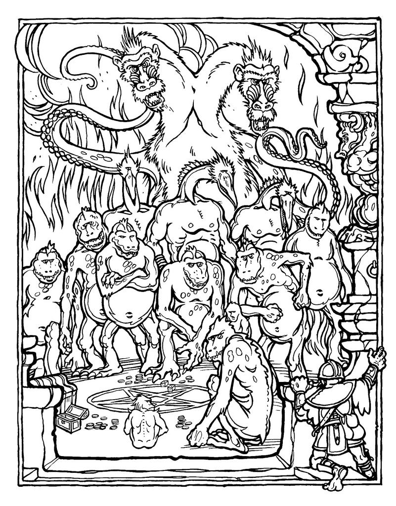 Greg Ironsin Demogorgonia esittävä piirros vuonna 1979 julkaistusta The Official Advanced Dungeons and Dragons Coloring Bookista. Gygaxin kirjoittama ja Ironsin kuvittama värityskirja on nykyisin arvokas keräilyharvinaisuus.