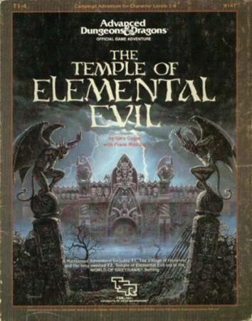 Temple of Elemental Evil julkaistiin vasta sen jälkeen kun Gygax oli jo jättänyt TSR:n taakseen. Keith Parkinsonin synkeää kansitaidetta.