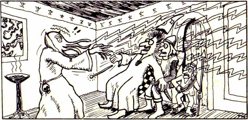 Mind flayerin psioninen hyökkäys taltuttaa pätevimmätkin seikkailijat. Tom Whamin huikeaa taidetta AD&D:n Monster Manualista vuodelta1977.