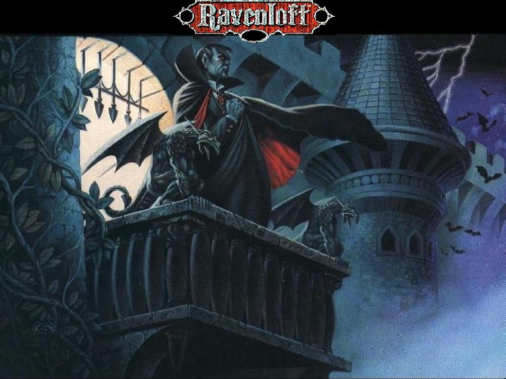 Ravenloft ja sen vampyyrihallitsija kreivi Strahd. Ravenloftin maailma oli Dragonlancen tapaan Tracy ja Laura Hickmanin luoma.