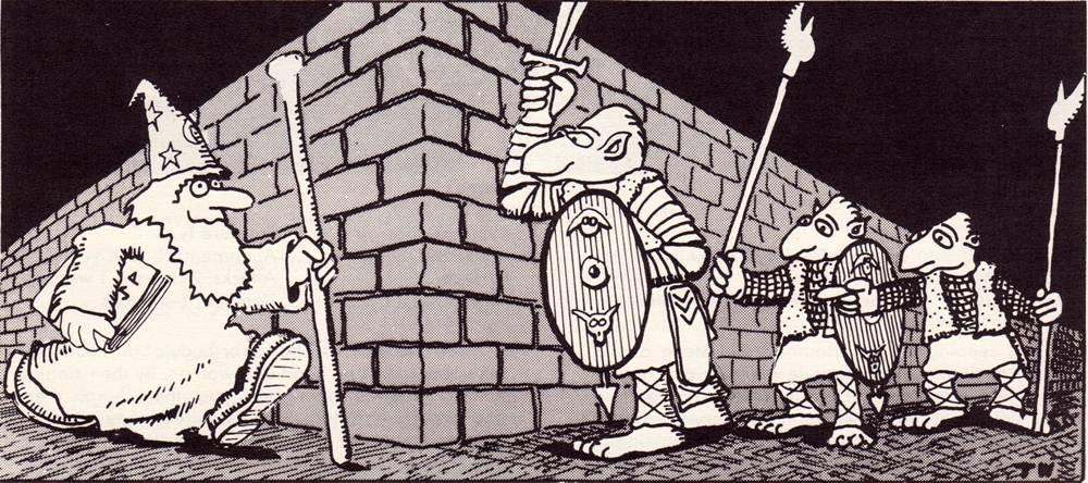 Gnollit väijyttämässä varomatonta taikuria. Tom Whamin nerokasta taidetta vuodelta 1977.