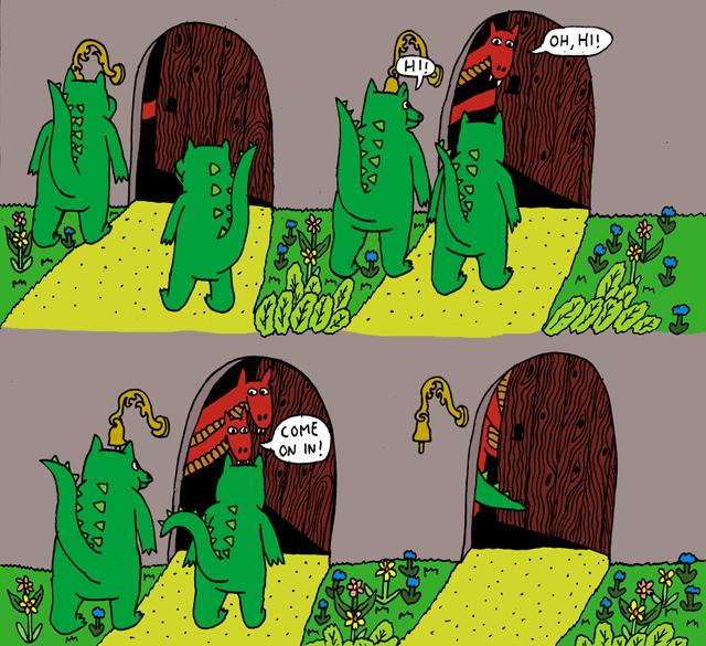 Roope Erosen sarjakuvasta Advanced Offices & Humans. Kaksipäinen punainen lohikäärme on uusi hahmo, saas nähdä kuinka se hallitsee pelinjohtajan tehtävät...