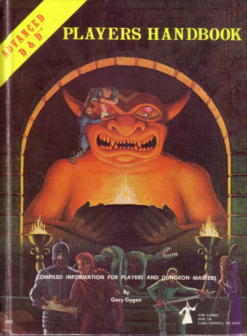 Alkuperäisen Player's Handbookin kansi on helposti yksi ikonisimmista ja tunnelmallisimmista roolipelikansista koskaan; C. A. Trampierin taidetta.