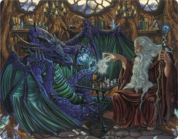 Lohikäärme ja taikuri mittelevät voimiaan pelipöydän ääressä.
