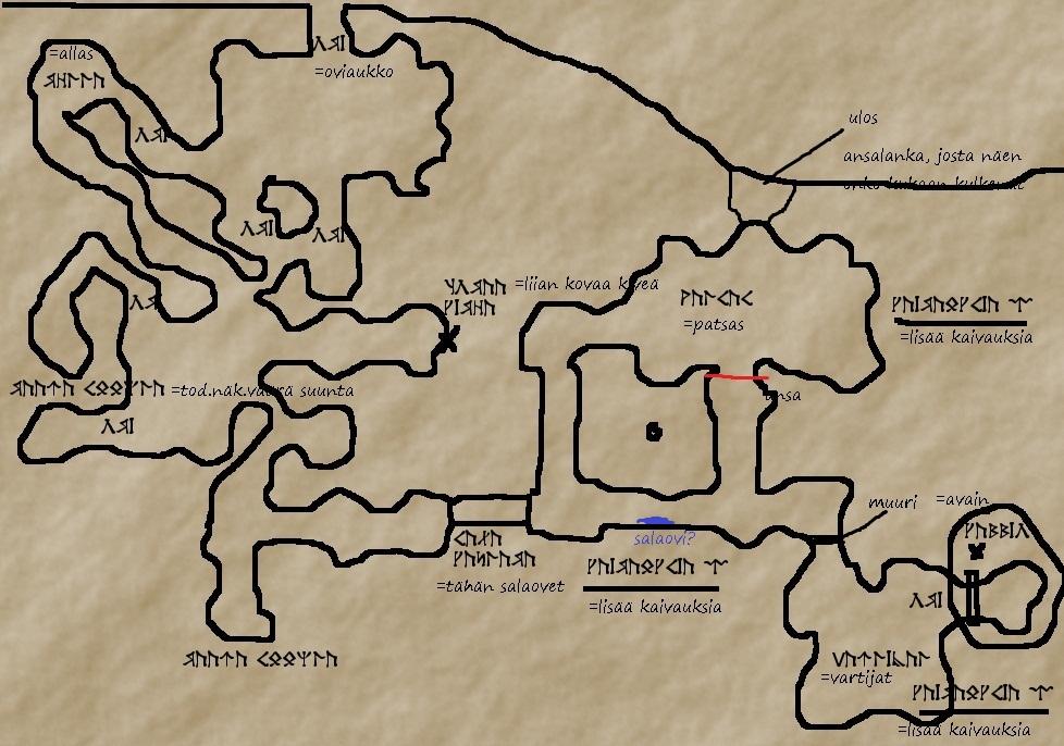 Tuomion luola, kerros 1 (löytynyt kartta)