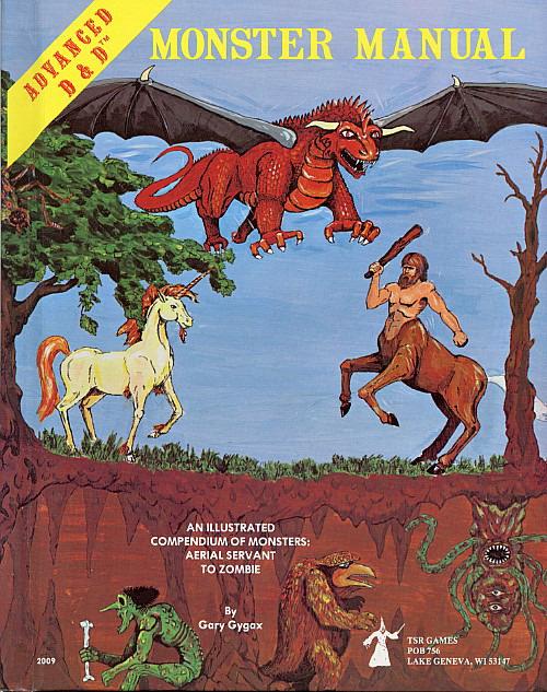 Alkuperäisestä Monster Manualista löytyy kaikkea Aerial Servanteista ja Ankhegeista Xorneihin, Yeteihin ja Zombeihin. Kannessa on David Sutherlandin taidetta.