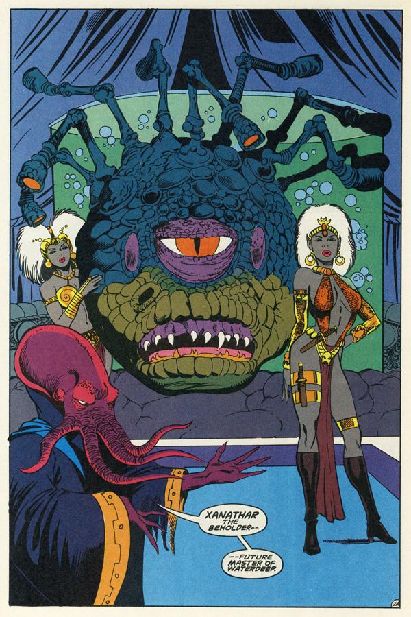 Waterdeepin alaisissa luolissa lymyävä beholder Xanathar Advanced Dungeons & Dragons -sarjakuvassa joskus 1980-luvun lopulla. Jan Duurseman taidetta.