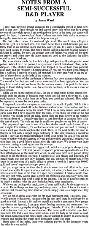 James Ward kertoo kuinka D&D:ssä selviää. Kirjoitus The Dragon -lehden numerosta 13.