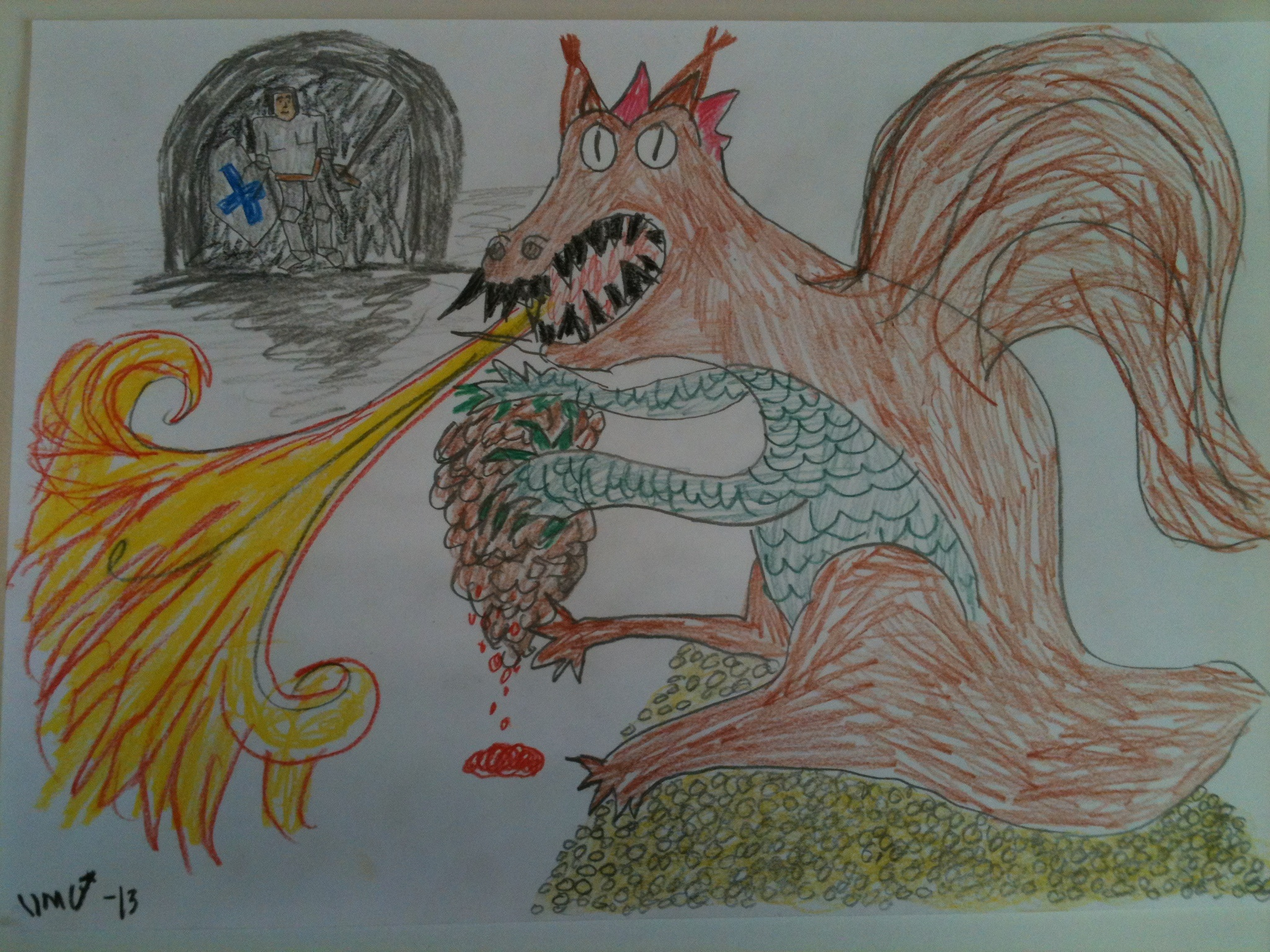 """Even though Worg was a seasoned adventurer he couldn't resist feeling mixed emotions upon meeting the Great Green Dragon Squirrel and the Horrible pine cone of death the Mad Wizard had summoned to protect the golden treasure of """"winter hoard"""""""