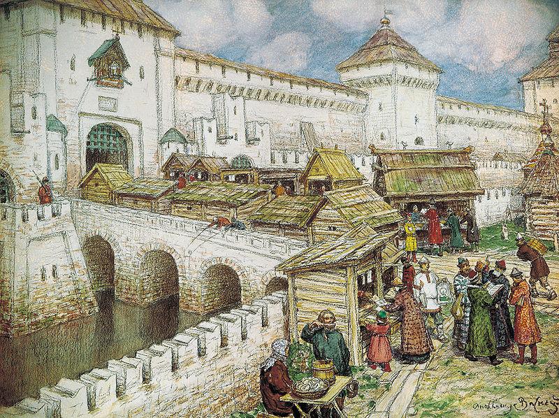 Ihmisiä virtaa kohti länteä. (Kirjakauppoja Spassky-sillalla, Apollinary Vasnetsov (1800-luku))