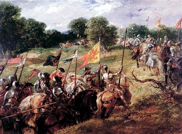 Ritarit valmistautuvat taistoon. With All Their Banners Bravely Spread, John Gilbert 1878.