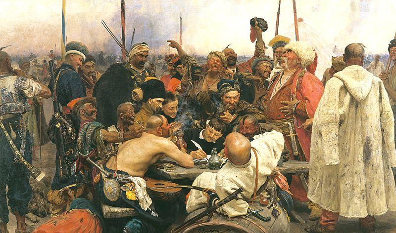 Ilja Repinin taulussa Zaporogit kirjoittavat pilkkakirjettä Turkin sulttaanille (1878 - 1891) kasakat yrittävät solvata sulttaania mahdollisimman paljon. Diplomatiaa sekin, eikö?