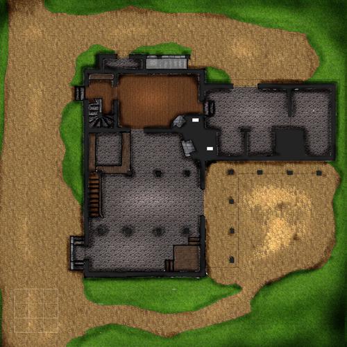 Vihreän lohikäärmeen majatalon alakerta.