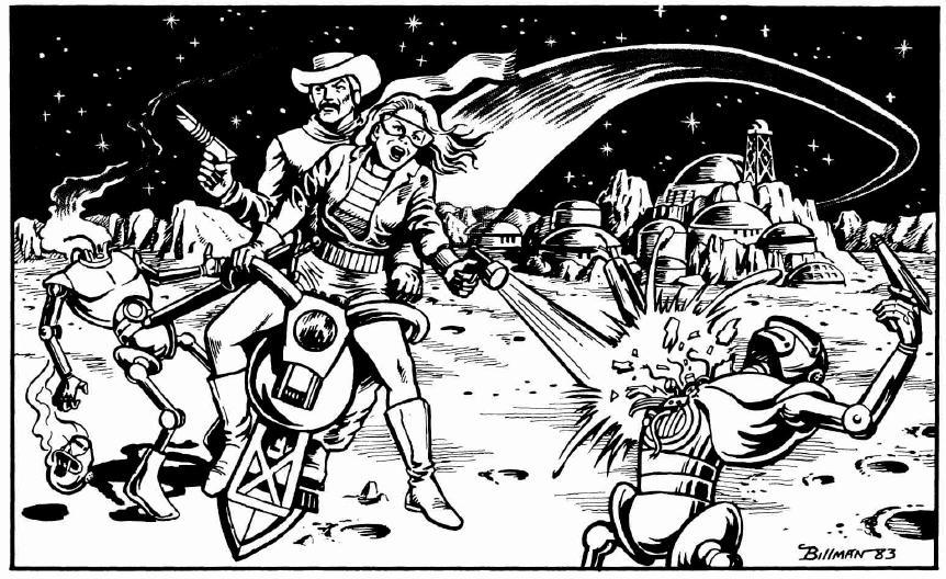 Länkkärit taistelevat robtotteja vastaan kuussa. Helmeä! Taide: Dave Billman.