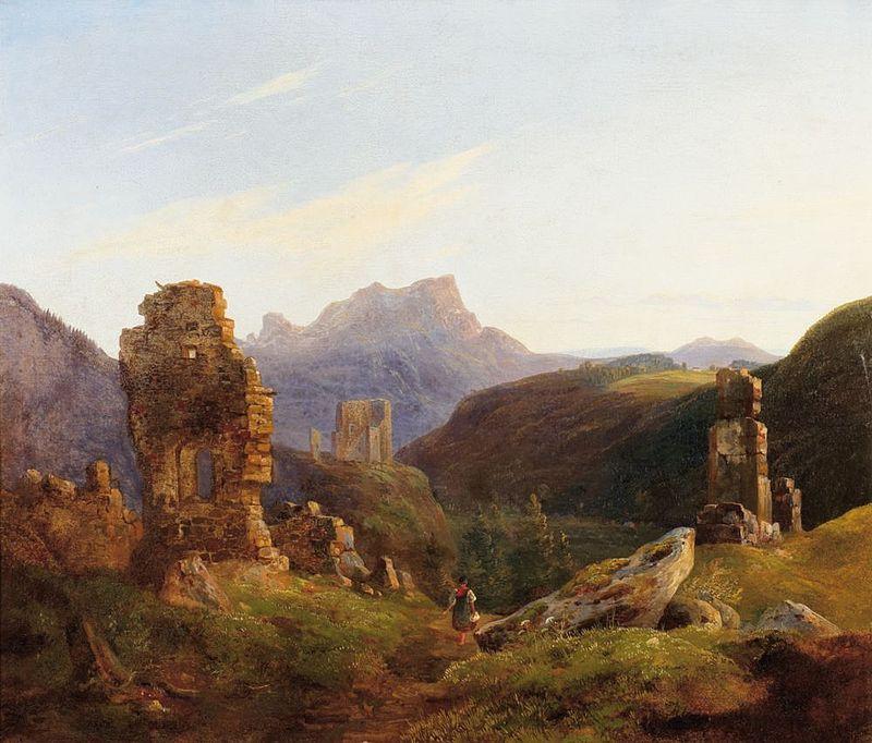 Kuolleiden ritareiden linnojen rauniot täyttävät maisemat. Taide: Heinrich Bürkel