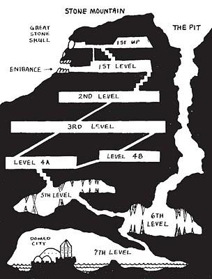 Luolaston poikkileikkaus Holmes Basic D&D:stä vuodelta 1978. Kuva: Olde School Wizardry