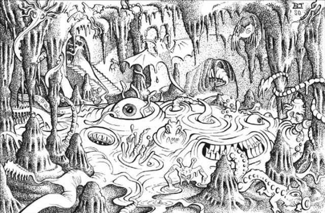 Erol Otus on niitä harvoja kuvittajia, jotka osaavat kuvata maan alta löytyvää outoutta. Taide: Erol Otus
