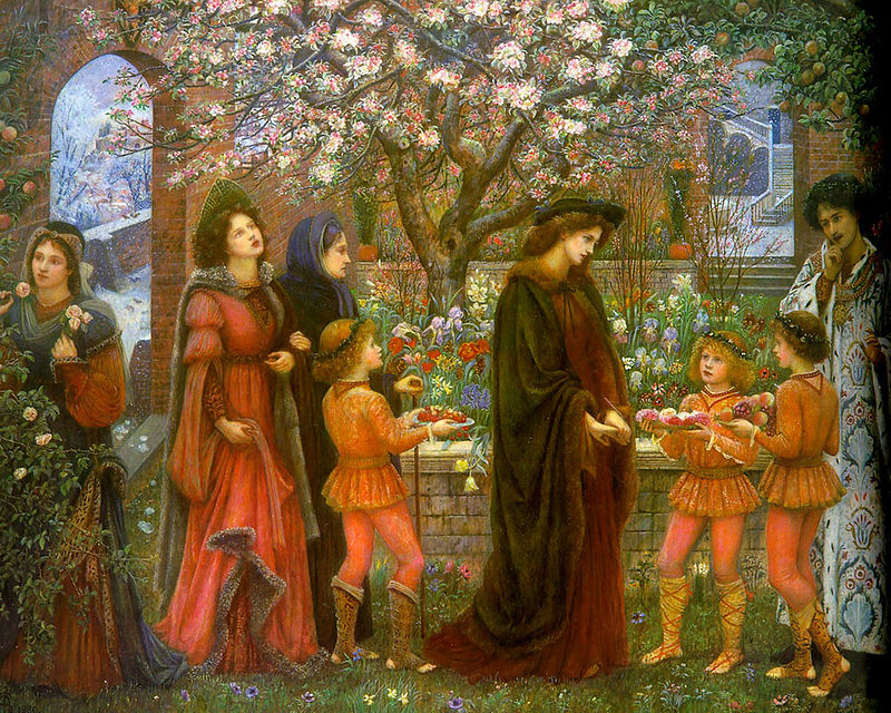 Taikuri saa puutarhan kasvamaan hedelmiä ja kukkasia talvella jotta Messer Ansaldo voittaisi naimisissa olevan leidin sydämen. Marie Spartali Stillman: The Enchanted Garden of Messer Ansaldo / Wikimedia Commons.