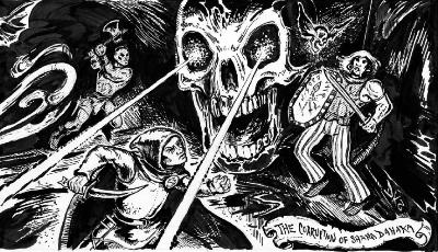 Nyt on kunnon meininki! Doug Kovacsin taidetta DCC#69 The Emerald Enchanterista.